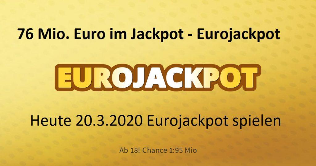 Eurojackpot Zahlen 20.03