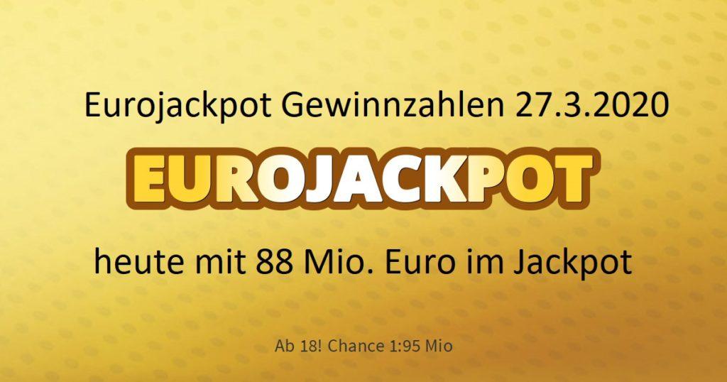Eurojackpot Zahlen 27.3.2020